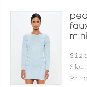 Powder blue faux suede mini dress